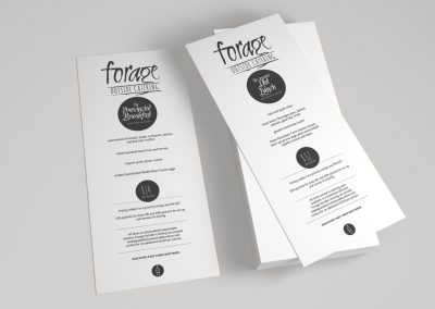Forage Catering - menu design